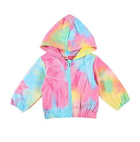 Newborn Baby Boys Girls Zip Up Hooded Coat Rainbow Print Long Sleeve Windbreaker Outerwear Tie Dye Shirt Jacket (K-Pink, 6-9 Months)