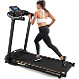 2HP Folding Electric Treadmill,3 Level Manual Incline Fitness Motorized 15.75W Trend Belt Running Exercise Machine with IPAD Holder, Hand Grip Pulse Sensor for Home Gym Cardio Workout Jogging Training