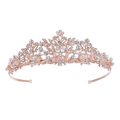 SWEETV Rose Gold Wedding Tiara for Women and Girls - Pageant Tiara Headband, Rhinestone Bridal Crown for Brides
