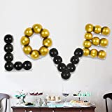 TONIFUL Love Balloon Grid Include 34pcs Black Gold Latex Balloons Party Supplies for Birthday, Baby Shower, Wedding, Valentine's Day Anniversary Backdrop Wall Party Decorations