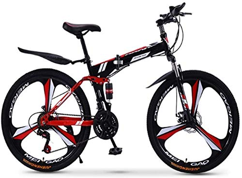 Pliuyb Folding Mountain Bike 21 24 27 30 Speed ??for Men and Women Adult Speed Adult Bicycle Double Race (Color : 24speed-24inch)