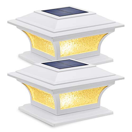 Siedinlar Solar Post Lights Outdoor Glass LED Fence Cap Light 2 Modes for 4x4 5x5 6x6 Posts Patio Deck Garden Decoration Warm White/Cool White Lighting White (2 Pack)