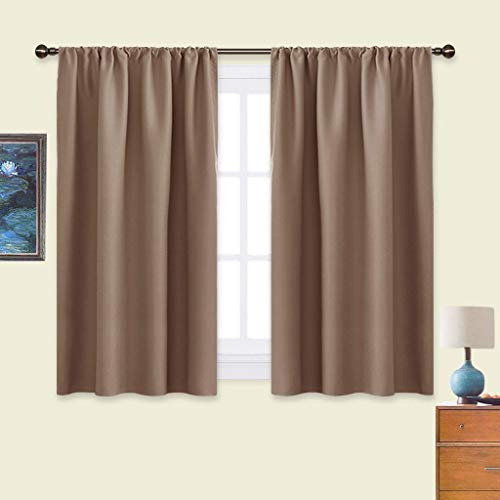 NICETOWN Kitchen Window Blackout Curtains - Window Treatment Thermal Insulated Rod Pocket Blackout Draperies/Drapes for Bedroom/Kitchen (Tan=Cappuccino, Set of 2, 42 inches Wide by 45 inches Long)