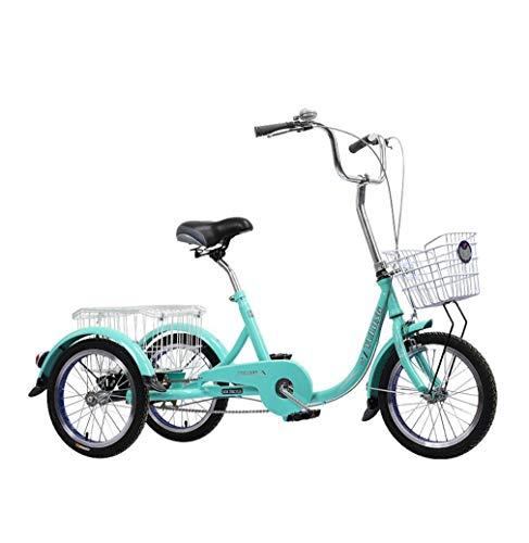 Triciclo Bicicleta de 3 Ruedas para Adultos Mayores con Canasta de Carro y Canasta de Verduras Bicicleta de Transporte de Ocio de 16 Pulgadas Bicicleta de Triciclo de Fuerza para Ancianos con Freno
