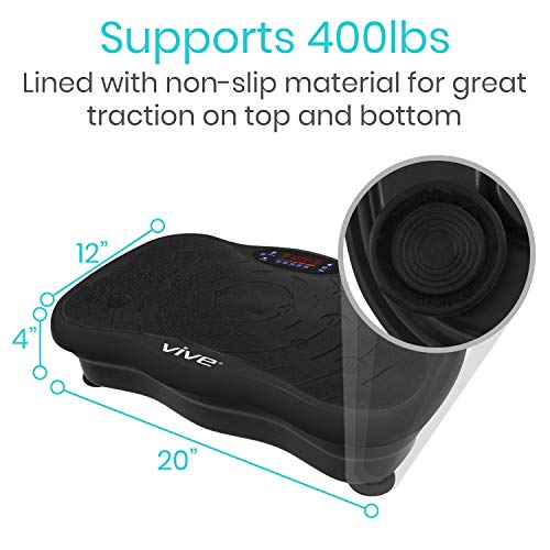 Vive Shake Plate - Vibration Platform with Resistance Exercise Band - Vibrating Fat Shaker Power Machine - Equipment for Whole Body Home Fitness