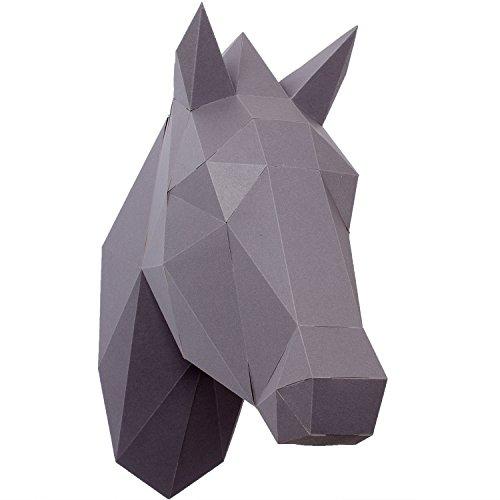 PaperShape 3d Pferd schnell zusammengebaut ohne kleben, ausgeschnitten und vorgefalzt. Wand-Trophäe als Deko aus FSC-Papier in 3 Farben Pferd-Kopf Maße 37 x 13 x 33cm. Made in Germany (urban grey)