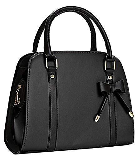 Xiying Damen Leder Handtasche Damentasche Classic Handtasche Schultertasche Rockabilly Tasche Handtasche Elegant (Schwarz)