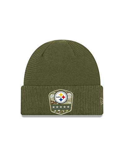 New Era Pittsburgh Steelers Beanie On Field 2019 Salute to Service Knit Olive - One-Size