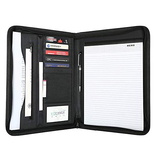 Leathario File Folder Padfolio Writing Pad Business Presentation Folder Portfolio (Black)