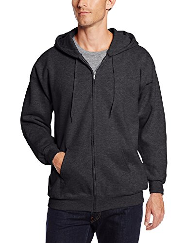 Hanes Men's Full Zip Ultimate Heavyweight Fleece Hoodie, Charcoal Heather, Medium