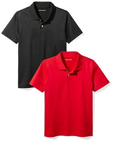 Amazon Essentials Boys Active Performance Polo Shirts, Black/Red, Medium