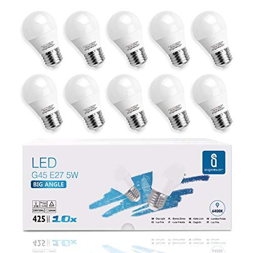 Lampadine LED E27 5W Luce Bianca Fredda 6400K 425 Lumen, Mini Globo Lampadina Pacco da 10 [Classe di efficienza energetica A+]