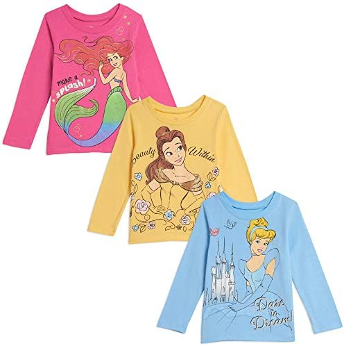 Disney Princess Cinderella Toddler Girls 3 Pack Long Sleeve Ruffle T Shirts 4T product image