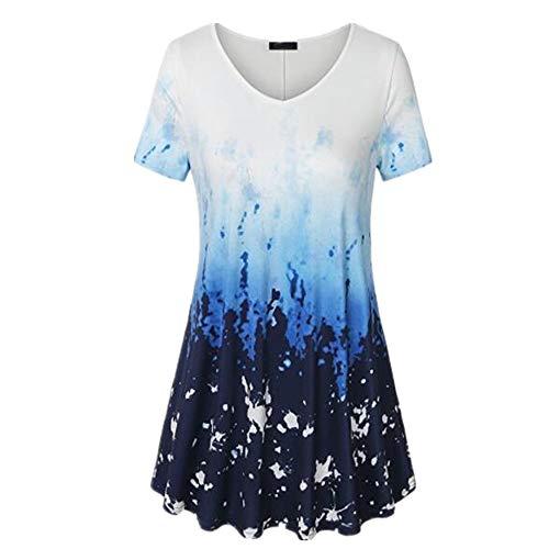 PPPPA Damen Rundhalsausschnitt Farbverlauf T-Shirt Mode lässig Kurzarm lose Version Pullover Shirt Damen Farbverlauf Sweatshirt Tops Damen Farbverlauf große Größe lose T-Shirt Damen T-Shirt