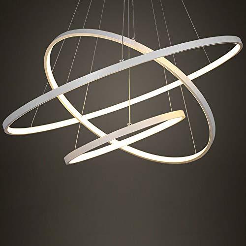 Eurekaled - Lampadario a sospensione LED moderno 3 anelli B40, luce fredda