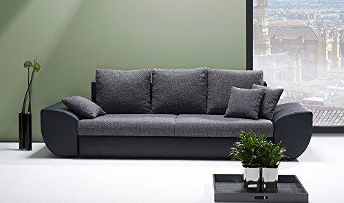 lifestyle4living Big Sofa in grau schwarz mit Schlaffunktion und Bettkasten, Kunstleder | XXL Couch inkl. 3 extragroßen Rücken-Kissen und hochwertiger Wellenfederung