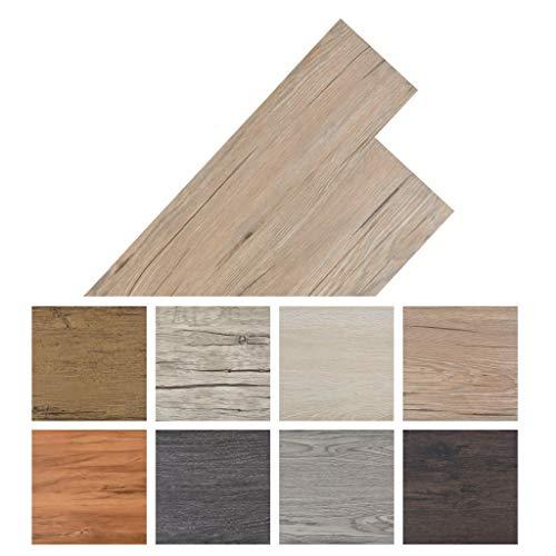 PVC Vinyl-Bodenbelag Holzoptik selbstklebend   Schiffsboden Buche   91,5 x 15,2 cm, 5,02 m²   Wasserfest, Schwer Entflammbar, Schimmelbeständig, für Küche, Bad, Flur   8 Dekors wählbar - Eichenbraun