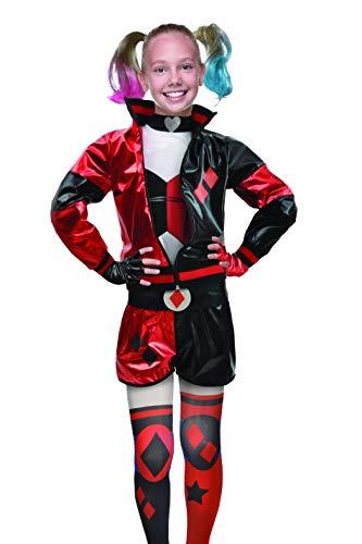 Ciao-Harley Quinn Costume Travestimento Bambina Originale DC Comics (Taglia 10-12 Anni), Colore Rosso, Nero, 11751.10-12