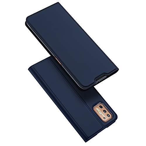 DUX DUCIS Hülle für Moto G9 Plus, Leder Klappbar Handyhülle Schutzhülle Tasche Hülle mit [Kartenfach] [Standfunktion] [Magnetisch] für Motorola Moto G9 Plus (Blau)