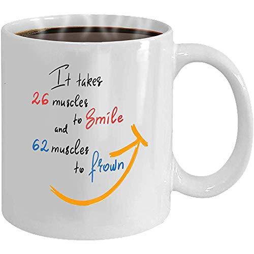 Taza de café personalizada Regalos de cerámica Taza de té necesita músculos para sonreír y músculos para fruncir el ceño manuscrita divertida cita motivacional imprimir fo