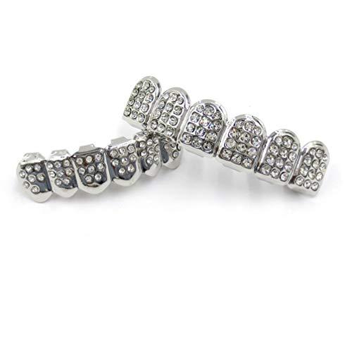 MILISTEN Dientes de Diamantes de Imitación de Plata para Hombres Mujeres Hip...