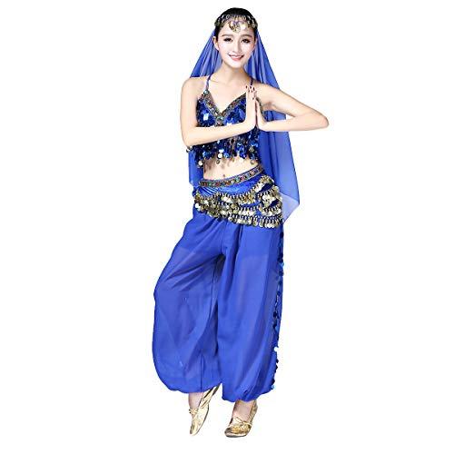OBEEII Disfraz Danza del Vientre Mujer 3Piezas Traje de Baile para Actuación Carnaval Disfraz Oriental India Árabe Top Pantalones y Velo Cabeza Azul Real