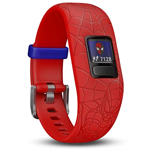 Garmin vívofit jr. 2 digitale, wasserdichte Action Watch im Marvel Spider-Man Design für Kinder ab 4 Jahren, mit spannender Abenteuer-App, Schrittzähler, rot, Batterielaufzeit bis zu 1 Jahr, Spielspaß