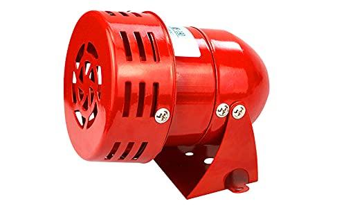 Sirene Alarme 220V Puissant à Exterieure, Sirene Alarme 120dB, Rouge Moteur Conduit Sirène Métal Corne Industrie Bateau Alarme