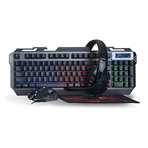 Woxter Stinger FX 80 Megakit - Kit Gaming (Teclado retroiluminado de Base metálica, ratón óptico hasta 3200 dpi, Alfombrilla de Microfibra 25x21 y Auriculares 2.0 con micrófono)