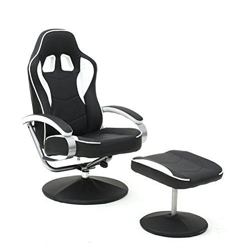 Magshion Black PU Racing Recliner Chair Set 360 Degree Swivel with Ottoman for Video Game Office Home Theater