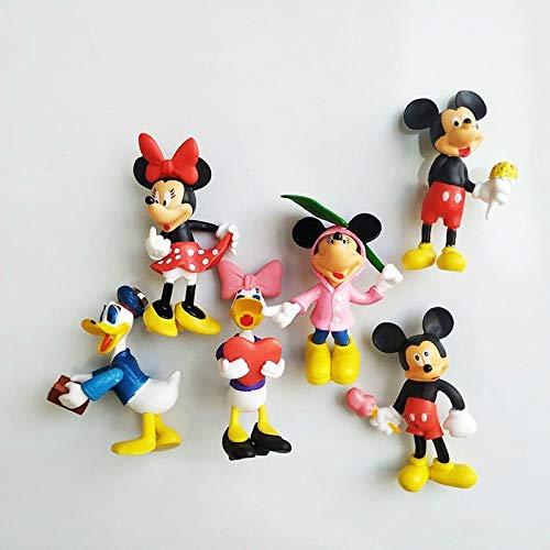 PPuujia magnete frigorifero Disney Mickey Mouse Frigorifero Pasta Cartoon Doll Paperino Frigorifero Pasta Frigorifero Magnetico Decor Frigorifero Magneti (Colore: 6PCS)
