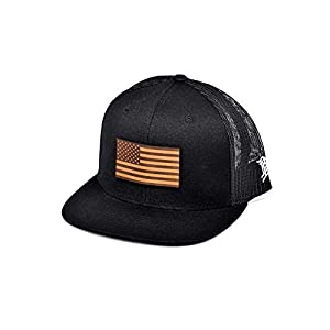 Branded Bills 'The Old Glory' Leather Patch Hat Flat Trucker – One Size Fits All
