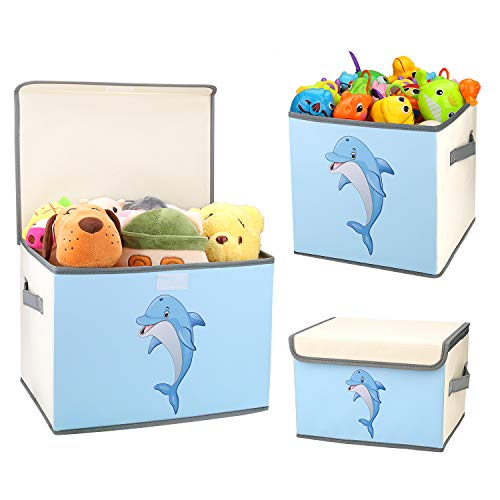 DIMJ Cajas de Almacenaje Juguetes, Juego de 3 Caja Organizadora de Juguetes con Tapa y Asa, Caja de Tela Patrón Lindo Delfín para Niños