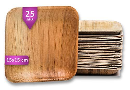 Waipur Assiette Palmier Bio - 25 Assiettes Carrées 15x15 cm – Vaisselle Jetable de Qualité Supérieure - Stable, Naturelle et Compostable – Assiette Jetable de Fête