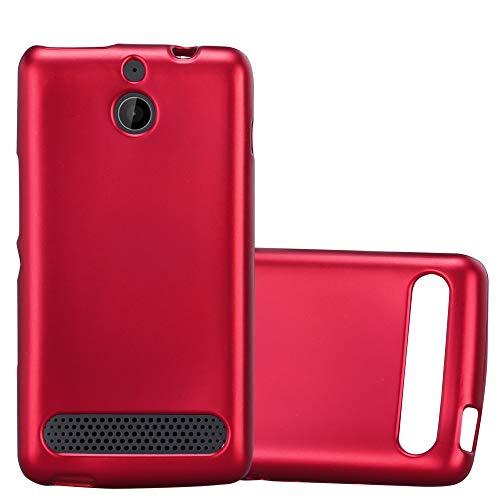 Cadorabo Hülle für Sony Xperia E1 in METALLIC ROT - Handyhülle aus flexiblem TPU Silikon - Silikonhülle Schutzhülle Ultra Slim Soft Back Cover Hülle Bumper