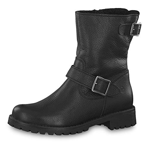 Tamaris Damen Stiefeletten 26902-23, Frauen Biker Boots, Ladies feminin elegant Women's Women Woman Freizeit leger Stiefel Damen,Black,40 EU / 6.5 UK