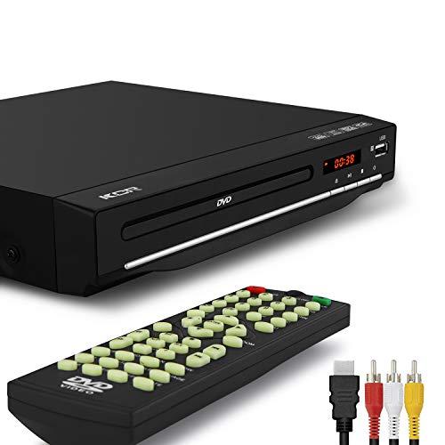 KCR Reproductor de DVD de 225 mm, multirregión libre (1-6), puerto HDMI, puerto USB, control remoto, Divx, (no blueray), color negro