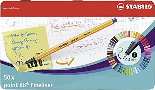 Fineliner - STABILO point 88 - 50er Metalletui - mit 47 verschiedenen Farben - 2x blau, rot, schwarz