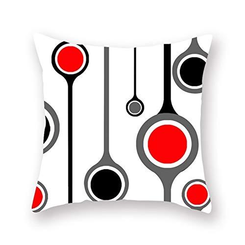 ACEACE 1PC nórdica Estilo geométrico Rojo Cojín de poliéster Almohada Cubierta del Caso Decorativo del hogar Almohadas for Coche del sofá (Color : 7, Size : 450mm*450mm)