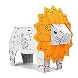 22Baby Juguete educativo Montessori, figuras de animales de cartón para pintar con acuarelas, juego de manualidades para niños, promueve la creatividad y la concentración, león