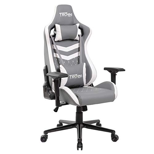 Techni Sport High Back Racing Chair with Foam Seat and Padded Arms, Reclining Gaming Chair with Height and Tilt Adjustment, Grey and White