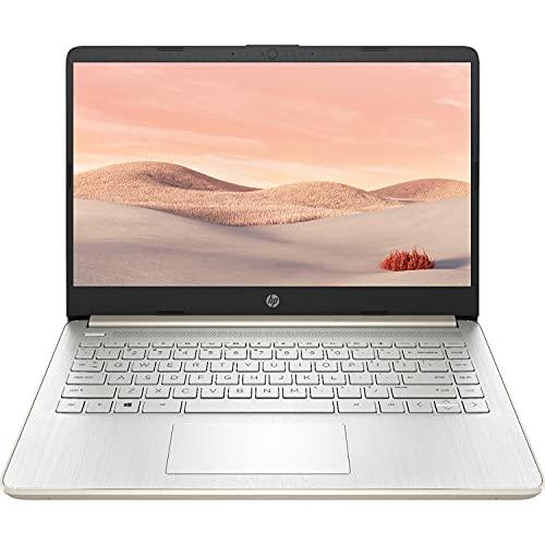 2021 newest hp premium 14-inch hd laptop, intel dual-core processor up to 2. 8ghz, 4gb ram, 64gb emmc storage, webcam, bluetooth, hdmi, wi-fi, gold, windows 10 with 1 year microsoft 365