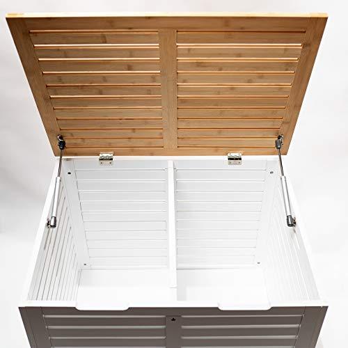 Limal Wäschesammler mit 2 Kammern Bambus Wäschekiste Wäschetruhe Wäschekorb mit Deckel weiß 60 x 70 x 55 cm - 4