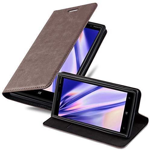 Cadorabo Hülle für Nokia Lumia 830 in Kaffee BRAUN - Handyhülle mit Magnetverschluss, Standfunktion & Kartenfach - Hülle Cover Schutzhülle Etui Tasche Book Klapp Style