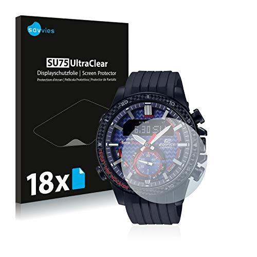 Savvies 18x Schutzfolie kompatibel mit Casio ECB-800 Displayschutz-Folie Ultra-transparent