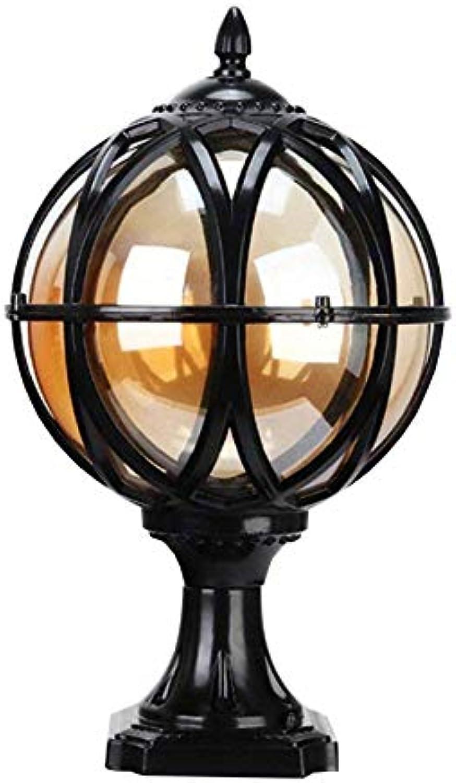 Stehlampe im Freien, Garten Eingang Ball Lampe, Land Retro Pole Lampe E27 Spalte (Farbe   SCHWARZ)