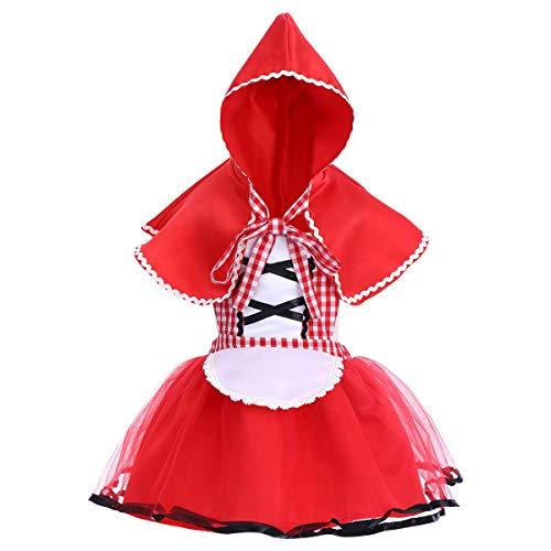 FYMNSI Rotkäppchen Kostüm für Neugeborene Baby Mädchen Kleinkinder Märchen Prinzessin Cosplay Verkleidung Halloween Weihnachten Party Faschingkostüm Neckholder Kleid und Kapuze Umhang 12-18 Monate