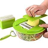 CHENJIA 4 en 1 Mandoline Vegetal Vegetal Slicer, fregador Vegetal, Seguro y Duradero, Libre de BPA, Adecuado para Papas, cebollas y Otras Verduras y Frutas