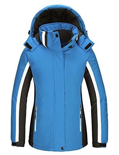 Skieer Giacca da Sci con Cappuccio Antivento Giubbotto da Snowboard Impermeabile Sport Cappotto da Monatagna Outdoor Parka Caldo Invernale Donna Azzurro & Nero M