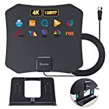 TV Antenna,HD Digital Indoor TV Antenna 2021 Newest, 80+ Miles Long Range,4K HD Local Channels,Support 4K 1080p Fire tv Stick and All Television for VHF/UHF Free Channels, with Coax Cable